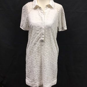 J Crew White Dress Side Pockets 2 Lined Cotton